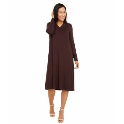 エイリーンフィッシャー ワンピース トップス レディース V-Neck Calf Length Dress Dark Brown Stone
