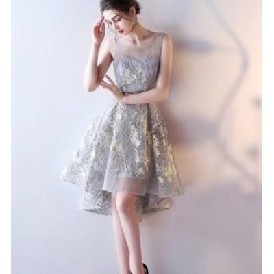 パーティードレス イブニングドレス 春夏 結婚式 二次会 披露宴 グレー 大きいサイズ ひざ丈 ショート丈 ノースリーブ 袖なし Aライン X