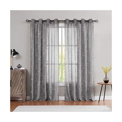 """Fragrantex Sheer Curtains Grey Embroidered Rose Pattern 84"""" Length 2 Panels Cotton Blend Print Botanical Window Panels for Bedroom and Livin"""