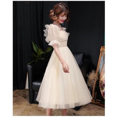 ウエディングドレス ミモレ丈ドレス エレガント パーティードレス 結婚式ワンピース 大きいサイズ 20代 30代 40代 きれいめ お呼ばれ 卒業式 発表会 披露宴