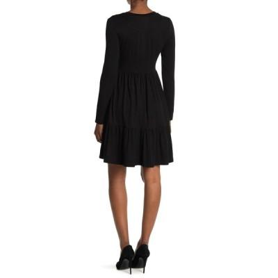 アールディスタイル レディース ワンピース トップス Crew Neck Long Sleeve Tiered Dress BLACK