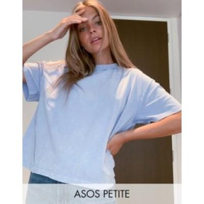 エイソス レディース シャツ トップス ASOS DESIGN Petite oversized t-shirt with exposed seams in washed blue Blues