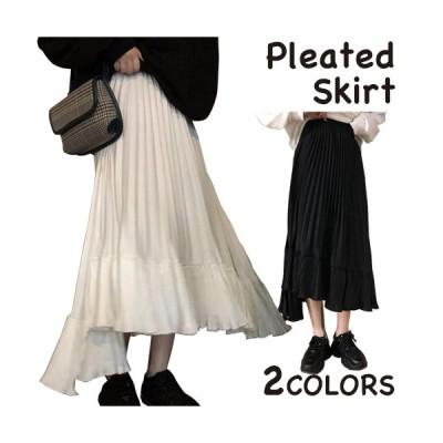 プリーツスカート スカート ロング ロングスカート ティアードスカート ミモレ丈 シンプル レディース カジュアル