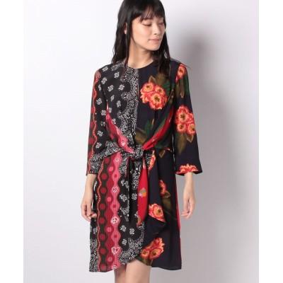 【デシグアル】 WOMAN WOVEN DRESS LONG SLEEVE レディース ブラック系 42 Desigual