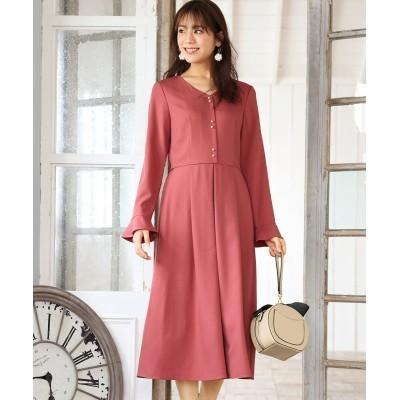 大きいサイズ パール調ボタン使いミディ丈タックワンピース ,スマイルランド, ワンピース, plus size dress