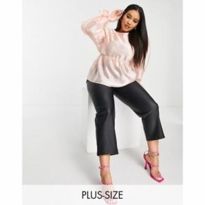 ファッションユニオン Fashion Union Plus レディース ブラウス・シャツ トップス smock drop with tie sleeves in pink organza ピンク