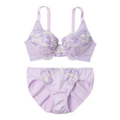 花柄刺しゅうフルカップブラジャー・ショーツセット(B75/L) (ブラジャー&ショーツセット)Bras & Panties