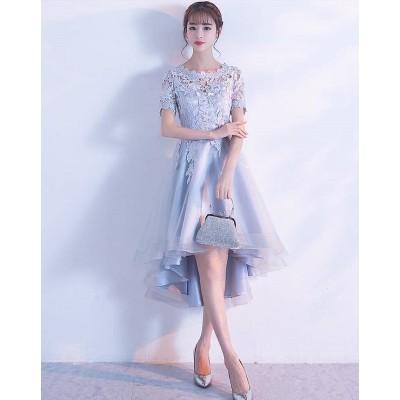 韓国 ファッション パーティードレス ミモレ丈 結婚式 お呼ばれ ワンピース 二次会 袖あり 透け感 レース 大きいサイズ フォーマル イブニングドレス 韓国 オルチャン