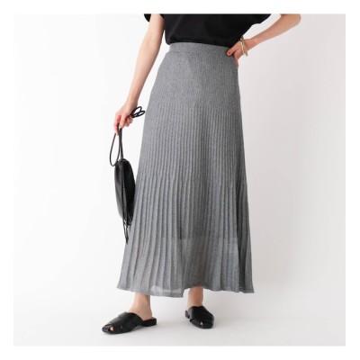 【オペークドットクリップ/OPAQUE.CLIP】 ラメニットプリーツスカート【WEB限定サイズ】