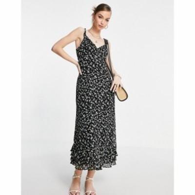 アンドアザーストーリーズ and Other Stories レディース ワンピース ワンピース・ドレス floral print ruffle edge midi dress in black