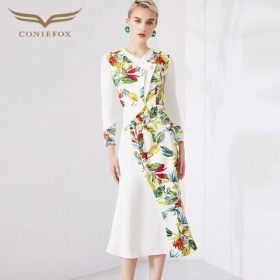 【CONIEFOX】高品質★花柄パール長袖付きマーメイドタイトライン膝丈ドレス♪ホワイト 白 ワンピース ミディアムドレス 大きいサイズ 送料無料