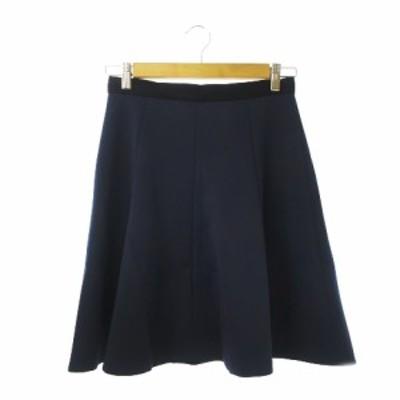 【中古】ランバンオンブルー LANVIN en Bleu スカート フレア ひざ丈 38 紺 ネイビー /CK6 ☆ レディース