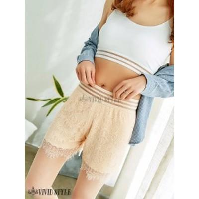 セクシー パンツ 女性 大人 勝負 ウエストラインの透け感が遊び心たっぷりで軽やかに素肌を飾るショートパンツ(PANTS) ベージュ