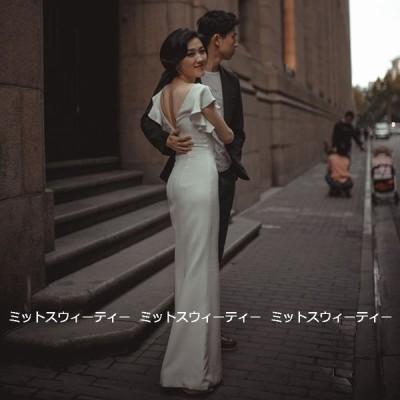 ウェディングドレス ロングドレス 結婚式 ウエディングドレス バックレス タイトドレス 二次会 花嫁 前撮り エレガント サテン リゾート フォトウェディング