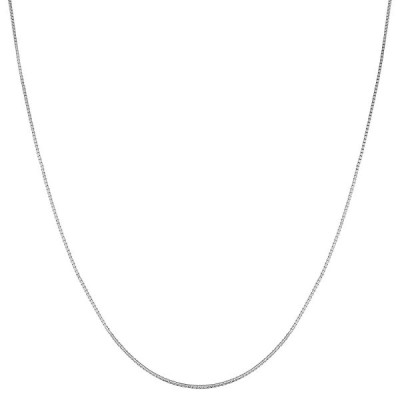 Kooljewelry 14k White Gold 0.7mm Venetian Box Chain (30 inch)
