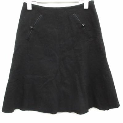 【中古】ジルスチュアート JILL STUART フレアスカート  ひざ丈 ウール 0 XS 黒 ブラック /KI レディース