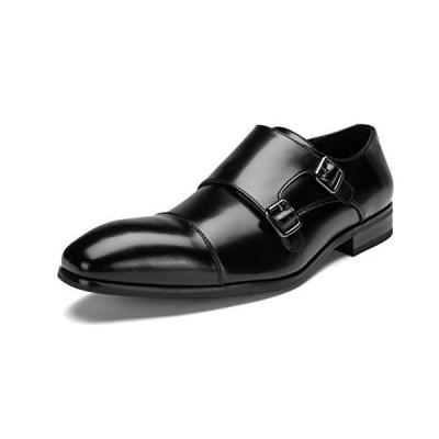 [神戸リベラル] シワになりにくい スプリットレザー 革靴 ビジネスシューズ モンク ストラップ メンズ 紳士靴 LB301 (25.5cm