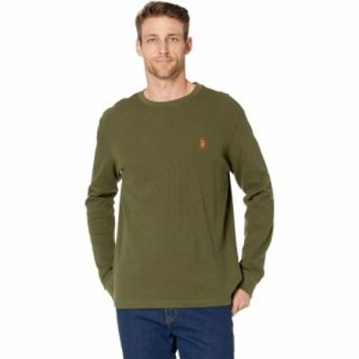 ユーエスポロアッスン U.S. POLO ASSN. メンズ 長袖Tシャツ トップス Long Sleeve Crew Neck Solid Thermal Shirt Rifle Green