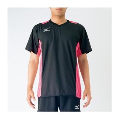 バレーボールウェア ピステシャツ ミズノ mizuno メンズ 半袖 ブレーカーシャツ 杢柄 トレーニング 練習  MIZUNO ユニセックス/V2MC7002
