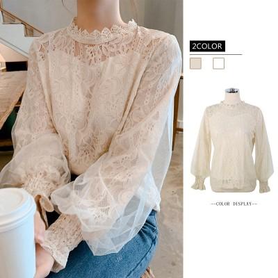 Tシャツツ ブラウス 長袖 レースレースレディース フリル ホワイト 大きいサイズ スタンドカラー かわいい 韓国ファッション カジュアル