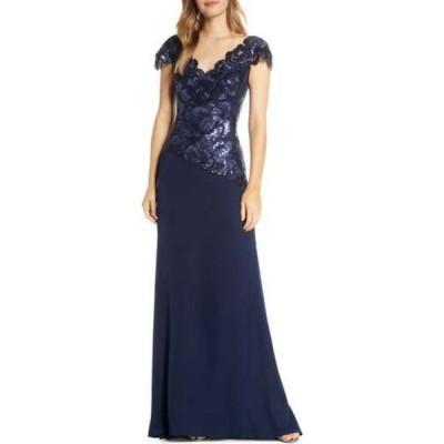 タダシショージ TADASHI SHOJI レディース パーティードレス ワンピース・ドレス Embroidered Lace Evening Gown Royal Navy
