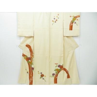 リサイクル 付下げ 金駒刺繍 波と熨斗に菊文 着物