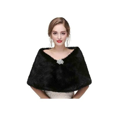 (新品) Yfe Women's Faux Fur Shawls Wraps Wedding Fur Stole Shrug Cape For Women 1920 Faux Fur Scarf Capelet (Black)