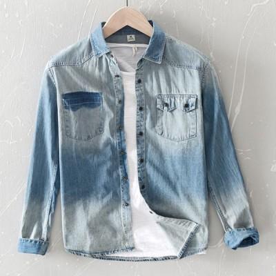 デニムシャツ メンズ 長袖シャツ カジュアルシャツ 無地 ボタンダウンシャツ メンズシャツ ビジネスシャツ 通勤 春秋 シャツ 送料無料
