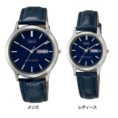 シチズン キューアンドキュー Q&Q 腕時計 アナログ 日付 曜日 革ベルト ネイビー A204-302 (D)(B)