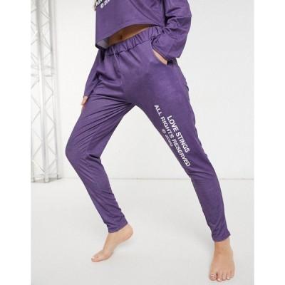 アドレセントクロージング レディース カジュアルパンツ ボトムス Adolescent Clothing love stings lounge pants in purple Purple
