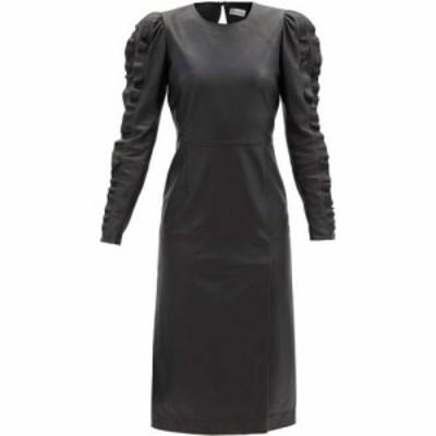 レッド ヴァレンティノ REDValentino レディース ワンピース ワンピース・ドレス Ruffled-sleeve leather dress Black