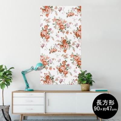 ポスター ウォールステッカー 長方形 シール式 90×47cm Lsize 壁 おしゃれ 剥がせる wall sticker poster 花 フラワー 模様 005432