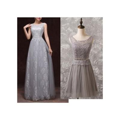 トップロングドレス ビジューベルト飾り レース編み ミニ丈有り