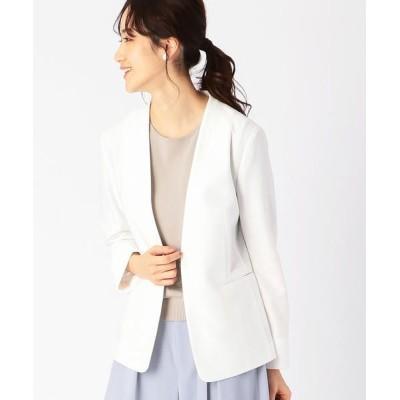 COMME CA ISM/コムサイズム ノーカラー ジャージージャケット <日本素材 ウォッシャブル 吸水速乾 ストレッチ> ホワイト M