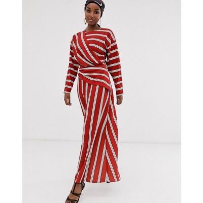 エイソス ASOS DESIGN レディース ワンピース ワンピース・ドレス wrap detail maxi dress in wide stripe Red/white stripe