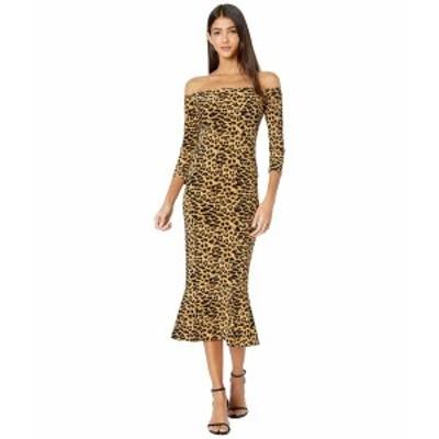 カマリカルチャー レディース ワンピース トップス Off-the-Shoulder Fishtail Dress to Midcalf Golden Leopard