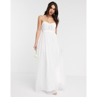 エイソス レディース ワンピース トップス ASOS EDITION Louisa lace corset wedding dress with mesh skirt