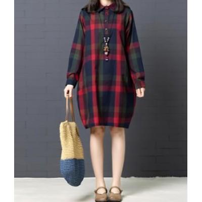 ブロックチェック ワンピース ひざ丈 長袖 かわいい レディ 秋物 冬物 最新 レディース ファッション 2020 人気 可愛い 大人
