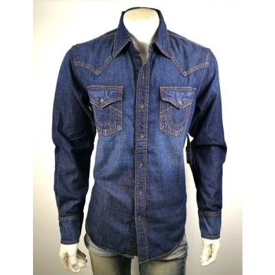 メンズファッション トゥルーレリジョン メンズ True Religion Men's Western Button Up Indigo Denim Shirt Top - 101355