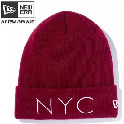 ニューエラ ニットキャップ ベーシックカフニット ニューヨークシティ バーガンディ ホワイト New Era Knit Cap Basic Cuff New York City Burgundy Snow White