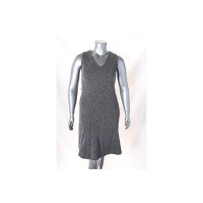 ジョネスニューヨーク ドレス ワンピース フォーマル Jones York マルチ ノースリーブ Marled ニット V Neck ドレス サイズ M 99LAFO