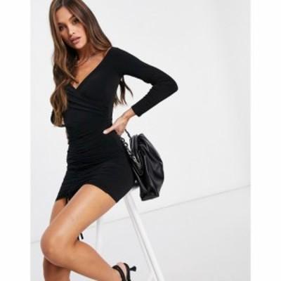 フラウンスロンドン Flounce London レディース ボディコンドレス ミニ丈 ワンピース・ドレス Ruched Bardot Bodycon Mini Dress In Blac