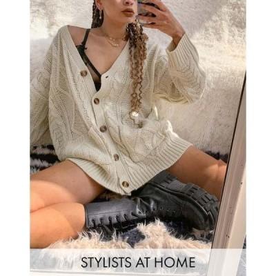リクレイム ヴィンテージ レディース カーディガン アウター Reclaimed Vintage inspired relaxed fit cable cardigan in cream Cream