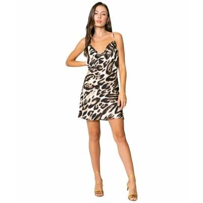 ラベンダーブラウン ワンピース トップス レディース Cheetah Printed Cowl Neck Bias Mini Dress Taupe/Brown