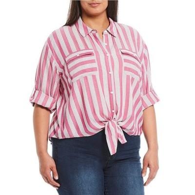 ウエストバウンド レディース シャツ トップス Plus Size Stripe Elbow Sleeve Tie Front Shirt