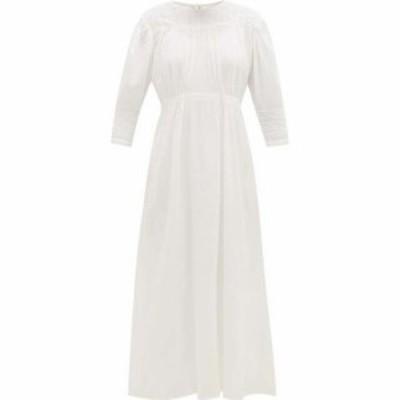ミミ プローバー Mimi Prober レディース ワンピース ワンピース・ドレス Georgia lace-trimmed gathered organic-cotton dress White