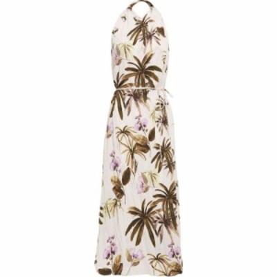 ヴィンス VINCE. レディース ワンピース ミドル丈 ワンピース・ドレス belted floral-print plisse-crepe midi dress Pastel pink
