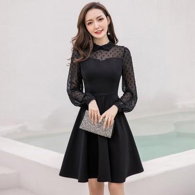 パーティー ドレス 長袖 ひざ丈 シースルー ドット柄 透け感 結婚式 お呼ばれ ワンピース 大きめもあり mme4633