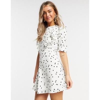 インフルエンス レディース ワンピース トップス Influence frill bib mini dress in white polka dot