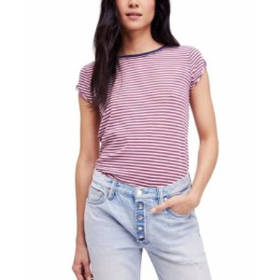 Free People フリーピープル ファッション トップス Free People Womens Red Blue Combo Size Large L Striped T-Shirt Blouse